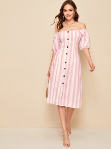 Off-Shoulder Button Through Stripe Dress