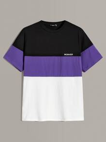 Men Letter Print Colorblock Tee