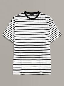 Men Short Sleeve Striped Tee