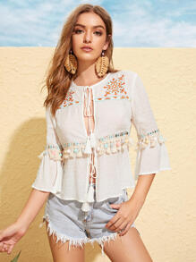 Tassel Tie Front Embroidered Pompom Detail Top