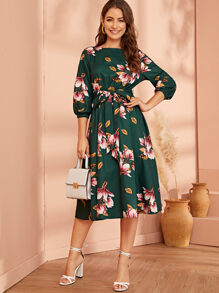 Elastic Waist Belted Floral Dress