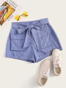 Flap Pocket Front Self Belted Shorts