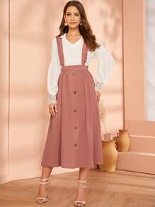Frill Strap Button Up Suspender Dress