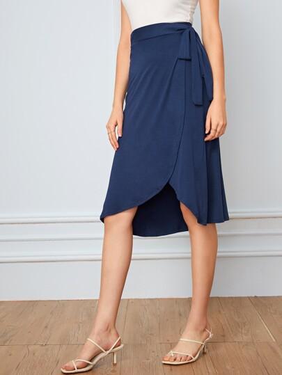 c13695f402 Tie Waist Wrap Solid Skirt