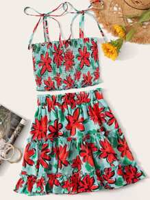 Tie Strap Shirred Floral Cami Top & Layered Frilled Skirt Set