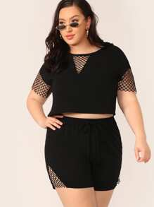 Plus Fishnet Mesh Insert Top and Shorts Set