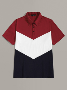Men Colorblock Half Placket Polo Top