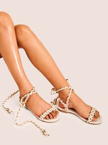 Lace-up Strappy Flat Sandals