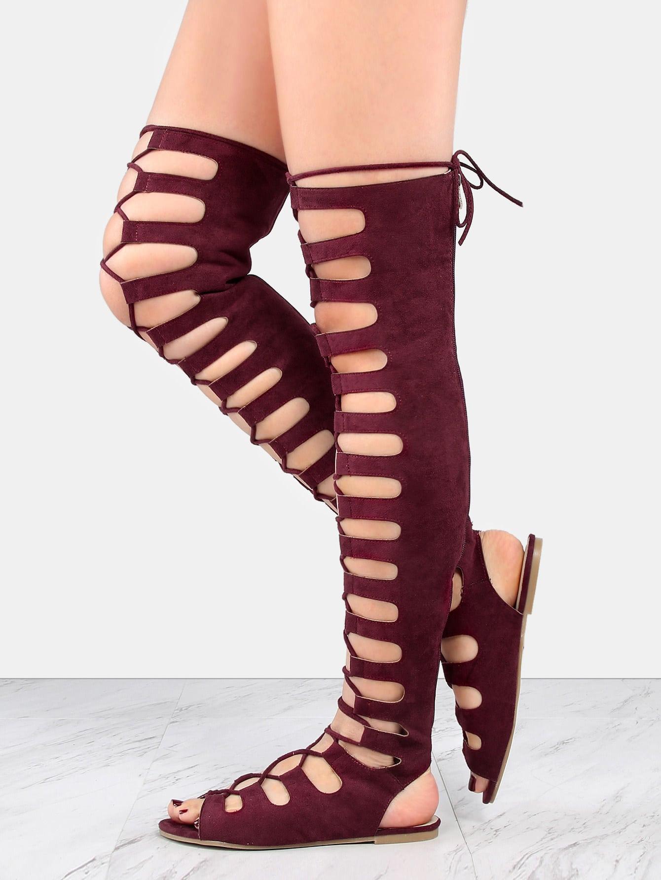 Tie Up Thigh High Gladiator Sandals Wine Shein