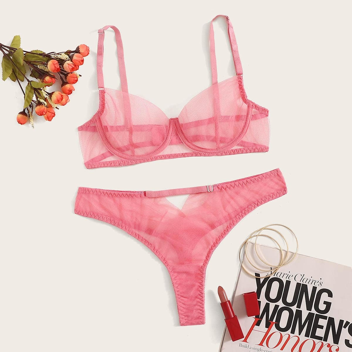 SHEIN coupon: Contrast Mesh Underwire Lingerie Set