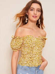 Off Shoulder Ditsy Floral Frill Blouse