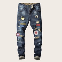 Guys Paint Splatter Patched Jeans