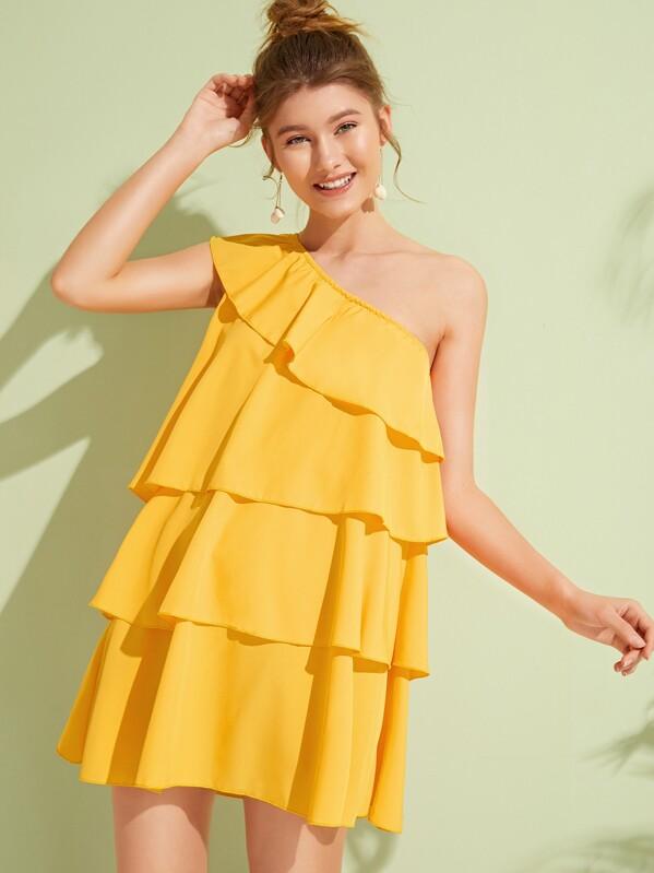 b82f5e076345 One Shoulder Layered Ruffle Hem Dress | SHEIN UK