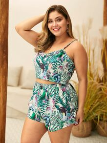 Plus Lettuce Frill Cami Top With Tropical Print Shorts