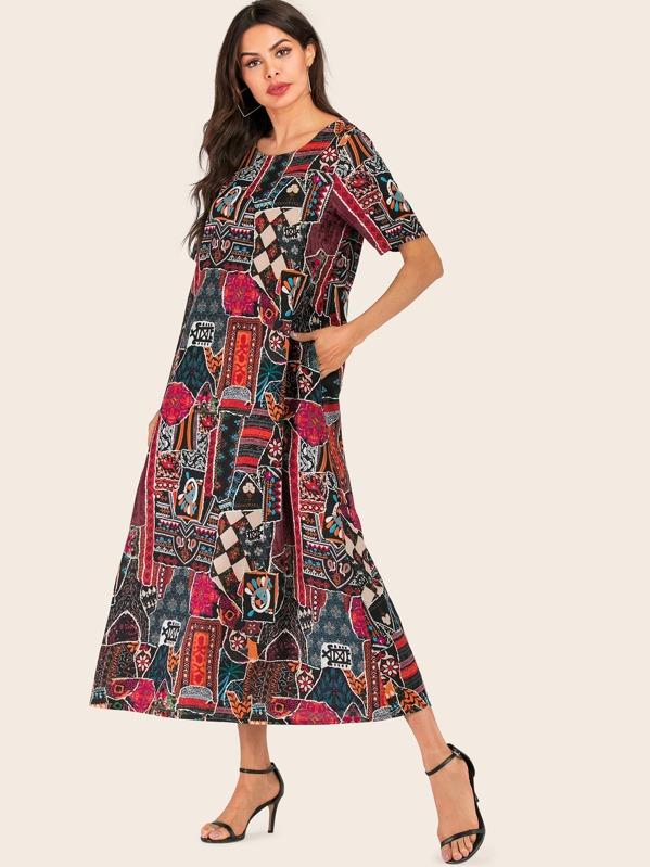 robe longue, rose avec imprimée à fleur, shein