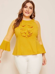 Plus Layered Ruffle Mesh Sleeve Peplum Blouse