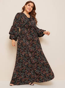 Plus Ditsy Floral Layered Sleeve Dress