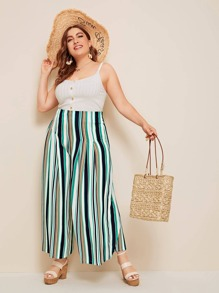 Plus Striped Wide Band Waist Wide Leg Pants