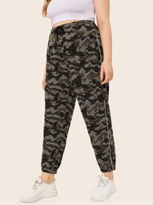 Plus Camo Pocket Side Drawstring Cargo Pants