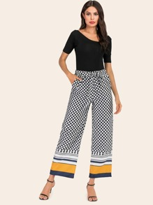 Checker & Colorblock Stripe Belted Pants
