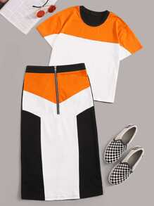 Cut And Sew Tee & Colorblock Zip Half Skirt
