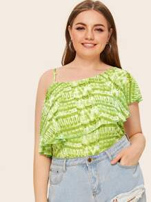 Plus Asymmetric Neck Ruffle Trim Tie Dye Blouse