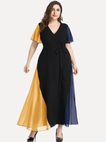 Plus Slef Tie Contrast Panel Maxi Dress