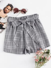 Plus Frill Waist Glen Plaid Belted Shorts