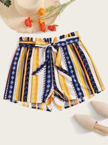 Plus Tribal Print Frill Waist Belted Shorts