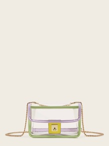 Contrast Piping Clear Chain Bag