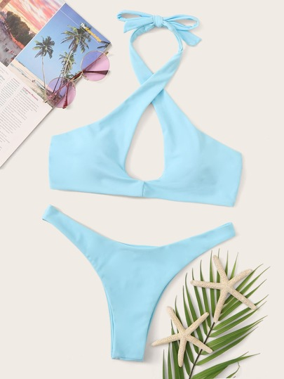97f015918e5c Set de bikini top halter con tiras cruzadas cortado alto