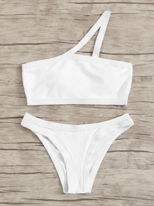 One Shoulder Top With Low Rise Bikini Set