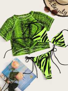 Neon Lime Zebra Print Short Sleeve 3Piece Co-ord Bikini
