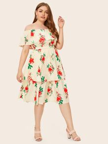 Plus Floral Print Bardot Layered Ruffle Dress