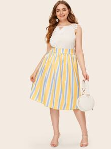 Plus Wide Waistband Striped Midi Skirt