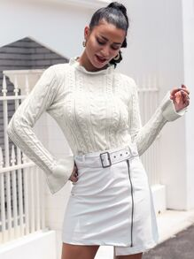 Glamaker Flounce Sleeve Cable Knit Sweater