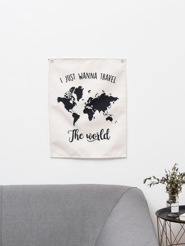 World Map & Slogan Print Wall Hanging Cloth   SHEIN UK