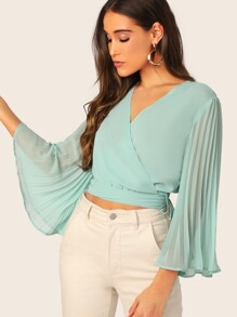 Tie Back Pleated Sleeve Wrap Top