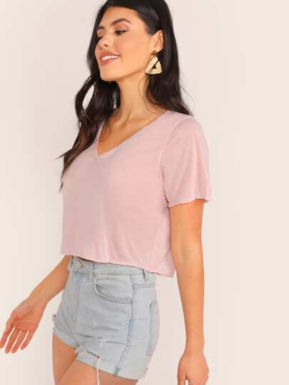 43acf3b311c V-neck Solid Crop Tee