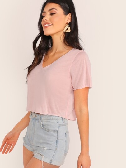 a6b2b77409e V-neck Solid Crop Tee