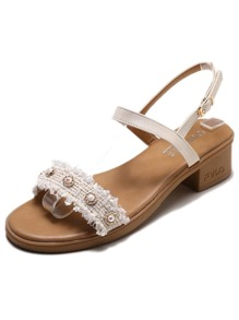 Faux Pearl Decor Chunky Heeled Sandals