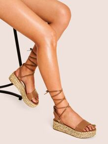 Tie Leg Open Toe Espadrille Sandals