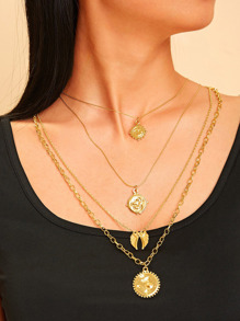 Sun Charm Layered Chain Necklace 1pc