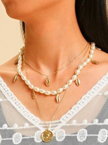 Shell Charm Faux Pearl Design Layered Chain Necklace 1pc