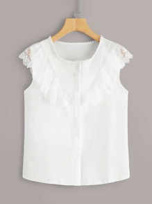 Contrast Lace Ruffle Button Front Blouse