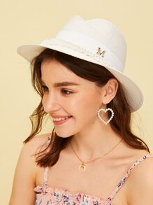 Faux Pearl & Letter Decor Straw Fedora