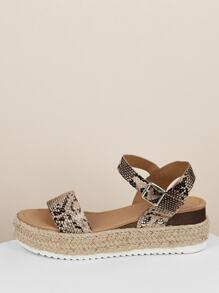 Snakeskin Open Toe Jute Trim Flatform Sandals