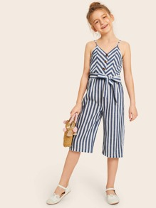 Girls Button Front Self Belted Striped Culotte Jumpsuit
