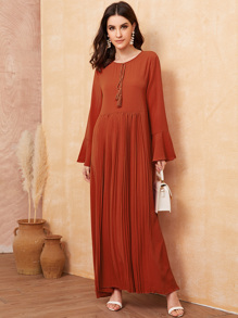Tassel Tie Neck Bell Sleeve Pleated Maxi Dress