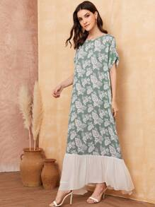 Tropical Print Batwing Sleeve Ruffle Hem Dress